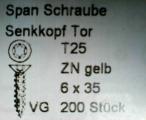 Spanplattenschrauben, TORX, verzinkt, 6,0x35mm