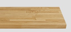 Massivholz-Treppenstufe, Weisseiche Parkett riemchenverleimt, gerade, ca. 40mm